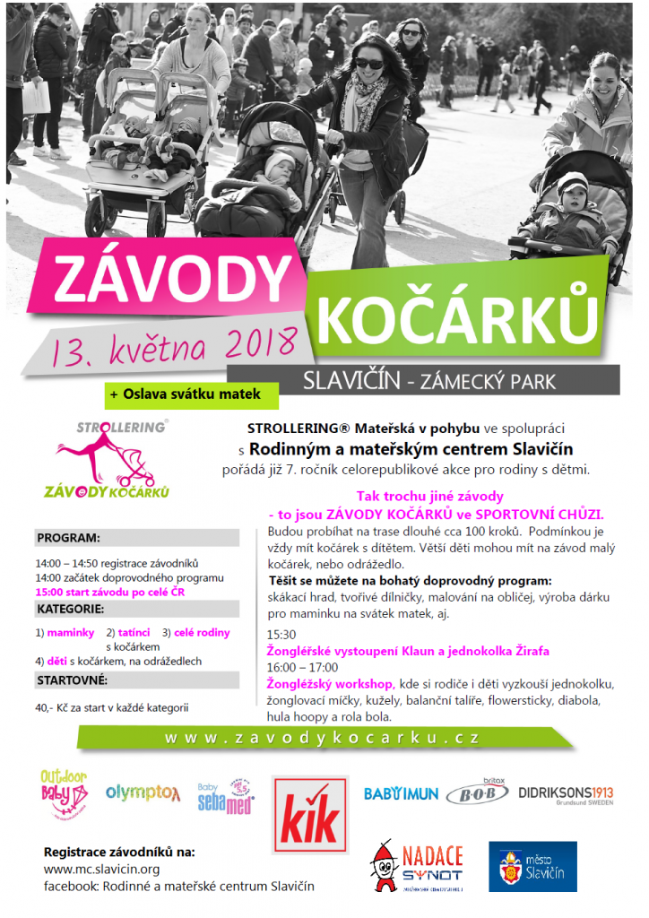 Zábavně-sportovní akce pro rodiny s dětmi, kdy se vždy v jeden určitý den v roce po celé ČR sejdou stovky rodin s kočárky a užijí si kočárkové závody na 100 kroků ve sportovní chůzi. Tradičně se do akce zapojuje několik desítek měst ČR a také Slovensko. Cílem akce je motivovat maminky na mateřské k pravidelnému pohybu a sportu, ukázat, že sportovat lze i s kočárkem = že kočárek není překážkou, a že pravidelné sportovní aktivity maminek probouzí u dětí od raného dětství přirozený vztah ke sportu. Zcela záměrně je kladen důraz na CHŮZI.  Připraveny jsou vždy 3 hlavní kategorie, kterými jsou: 1. závody MAMINEK 2. závody TATÍNKŮ 3. závody RODIN - (kdy se musí držet madla kočárku současně 2 členové rodiny.  Dětské závody budou mít 4 kategorie, tentokrát podle závodních strojů: 1. kočárky 2. plastová odrážedla - motorky 3.kovová odrážedla - first bike apod. 4. koloběžky  Startovné: 40 Kč za kategorii  Přihlášky na: http://www.zavodykocarku.cz/prihlaste-se/ Do přihlášky prosím uvádějte, ve kterých kategoriích budete soutěžit. Kategorie jsou: maminky, tatínci, rodiny s kočárkem a děti (s kočárky, na plastovém odrážedle, kovovém odrážedle, na kolobežce).  Podrobnější informace jsou na naší události: https://www.facebook.com/events/439653429824256/